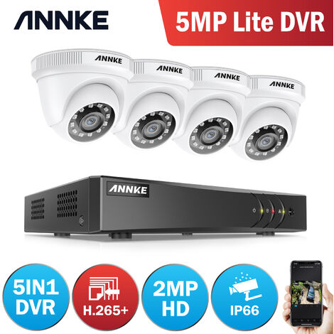 ANNKE 4-Channel H.265 3MP 5-in-1 CCTV Camera System + 4 HD 1080x Starlight DE-Noise HD Weatherproof Dome Cameras – 0TB Hard Drive