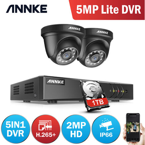 ANNKE 4CH 1080N Security System DVR 4Pcs 720P 1.0MP Weatherproof Home Security Camera