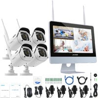 """ANNKE 4CH 1080P FHD Wi-Fi NVR Video Surveillance System With 12""""LCD Monitor"""