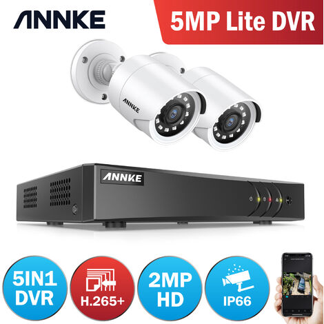 ANNKE 4CH 1080P lite 4-in-1 Security System DVR 2Pcs 720P Home Security Waterproof Cameras
