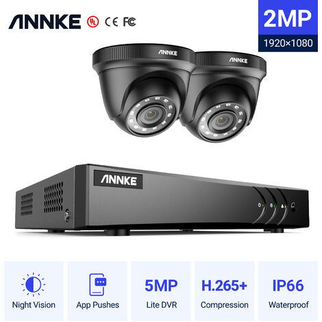 ANNKE 4CH 1080P Lite CCTV System 2pcs 2.0MP Outdoor Security Dome Cameras IR night Video Surveillance CCTV Kit - No hard drive