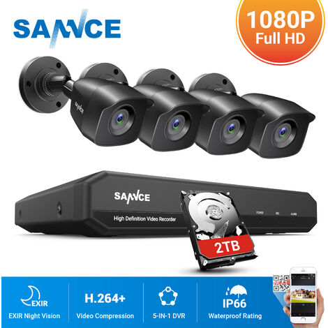 ANNKE 4CH 720P CCTV DVR Recorder 4Pcs 1.0MP Indoor/Outdoor Weatherproof Bullet Cameras 1Pcs WIFI 720P IP Cameras - NO Hard Drive Disk