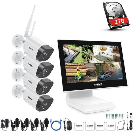 ANNKE 4CH FHD 1080P système de sécurité vidéo sans fil écran LCD 10,1 pouces 5MP NVR 4 pièces caméras IP Kit de Surveillance d'enregistrement Audio - avec disque dur de 2 To