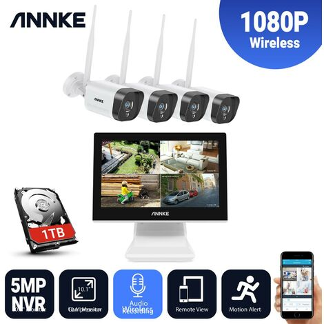 ANNKE 4CH Wi-Fi Wireless 5MP NVR CCTV System 4pcs 1080P IP Camera WIFI Outdoor Waterproof Audio Security Camera Kit with 1T HDD