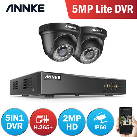 ANNKE 4Channel HD-TVI 1080P Lite Video Security System DVR and 2 Indoor/Outdoor Weatherproof Cameras with IR Night Vision LEDs