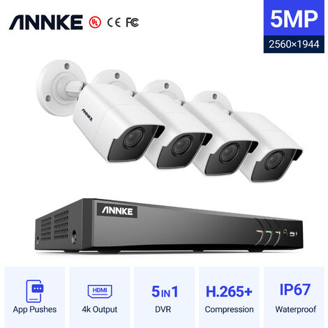 ANNKE 4Channel HD-TVI 1080P Lite Video Security System DVR and 4 Indoor/Outdoor Weatherproof Cameras with IR Night Vision LEDs