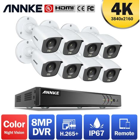 ANNKE 4K Ultra HD 8CH DVR Security Camera System with 8PCS Full Color Night Vision Home Outdoor Indoor CCTV Surveillance Kit with 0T Hard Drive
