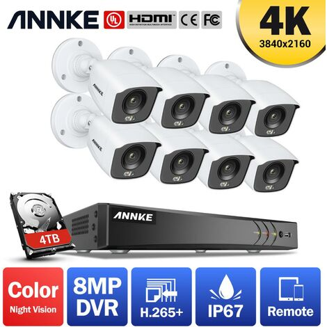 """main image of """"ANNKE 4K Ultra HD 8CH DVR Security Camera System with 8PCS Full Color Night Vision Home Outdoor Indoor CCTV Surveillance Kit with 0T Hard Drive"""""""