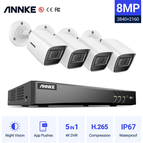 """main image of """"ANNKE 4K Ultra HD DVR Wired Security Camera System with 8MP Super HD Night Vision Cameras for Home Business Outdoor Indoor CCTV Surveillance Kits 4 Cameras"""""""