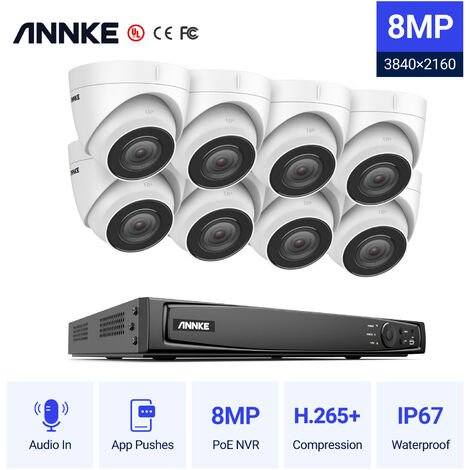 ANNKE 4K Ultra HD PoE 16CH Network Security NVK 4K Surveillance System with H.265 Video Compression + Turret IP Cameras HD 4K Turret 8 cameras - No hard drive