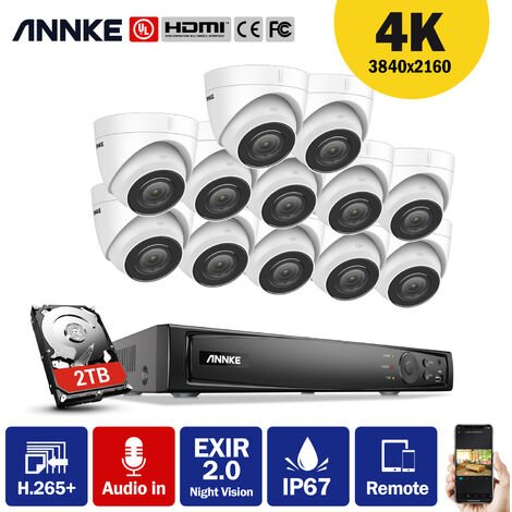 ANNKE 4K Ultra HD PoE 16CH Network Video Security System 4K Surveillance NVR with H.265+ Video Compression + 4K HD Wired Turret Turret IP Cameras 12 Cameras Audio Recording