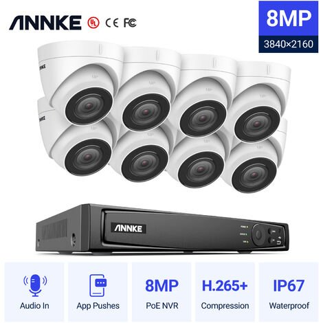 ANNKE 4K Ultra HD PoE 8CH Network Security NVK 4K Surveillance System with H.265 Video Compression + Turret IP Cameras HD 4K Turret 8 cameras ヨ No hard drive