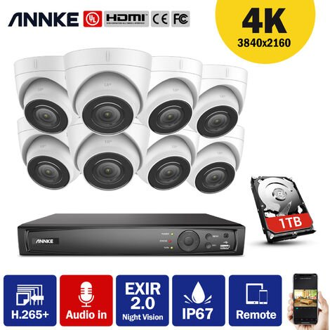 ANNKE 4K Ultra HD PoE Network Video Security System 8CH 4K Surveillance NVR with H.265+ Video Compression + HD 4K Turret Wired Turret IP Cameras 8 Cameras Audio Recording