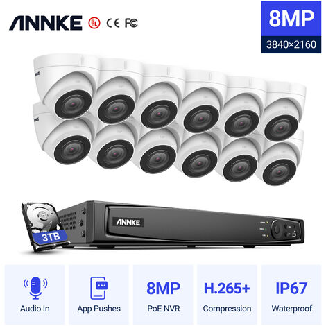 ANNKE 4K Ultra HD PoE Sistema de seguridad de video en red 16CH NVR 4K Vigilancia con compresión de video H.265 + 4K HD Torreta Cámaras IP con 12 cámaras