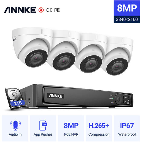 ANNKE 4K Ultra HD PoE Sistema de video de seguridad en red 8CH NVR 4K Vigilancia con compresión de video H.265 + 4K HD Torreta Cámaras IP con 4 cámaras