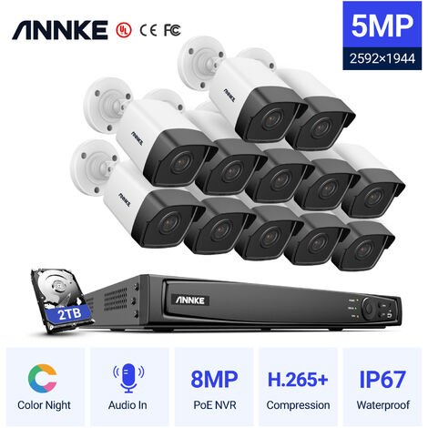 ANNKE 5MP 16CH Network POE CCTV Security Systems with 12pcs Super HD 5MP POE Cameras ヨ 0TB