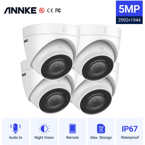 ANNKE 5MP H.265+ 8CH HD PoE Network Video Security System 8pcs Waterproof Outdoor POE IP Cameras Plug & Play PoE Camera Kit ヨ 0TB