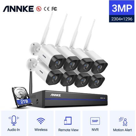 ANNKE 5MP PoE IP Security Camera System with ONVIF Bullet Cameras 8CH 4K NVR 100 ft Color Night Vision for Outdoor Indoor CCTV Surveillance Kits 8 Cameras