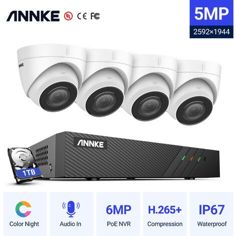 """main image of """"ANNKE 5MP PoE IP Security Camera System With ONVIF Turret Cameras 6MP 8CH NVR 100 ft Color Night Vision For Outdoor Indoor CCTV Surveillance Kits 4 Cameras"""""""