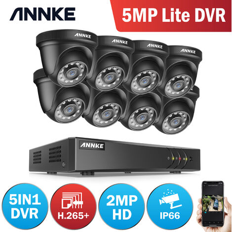 ANNKE 8 Channel Ultra HD 4K H.265 CCTV Camera System + DVR and 4 × 5MP HD Weatherproof Cameras with EXIR LED IR Night Vision