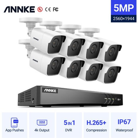 ANNKE 8 Channel Ultra HD 4K H.265 + DVR and 8pcs5MP HD Video Surveillance Camera System - 0TB Hard Drive Included