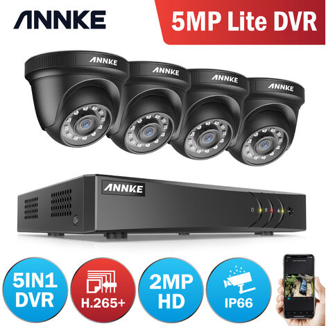 ANNKE 8CH 1080N Security System DVR 4Pcs 720P 1.0MP Weatherproof Home Security Camera