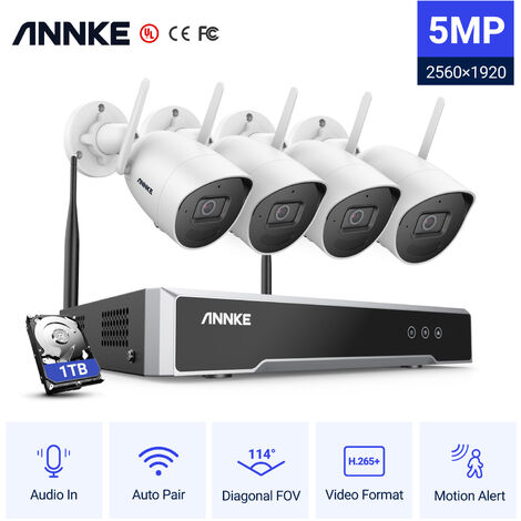 ANNKE 8CH 1080P FHD Wi-Fi NVR Video Surveillance System with H.265 Video Compression 4× Indoor & Outdoor IP Cameras