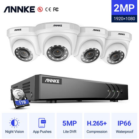 ANNKE 8CH 1080P Lite CCTV System 1080P DVR Kit 4pcs 2.0MP Outdoor Security Cameras System IR night Video Surveillance Kit ヨ No hard drive