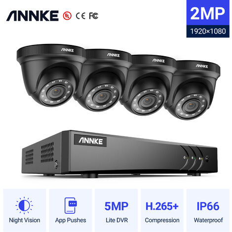 ANNKE 8CH 1080P Lite CCTV System 4pcs 2.0MP Outdoor Security Dome Cameras IR night Video Surveillance CCTV Kit - No hard drive