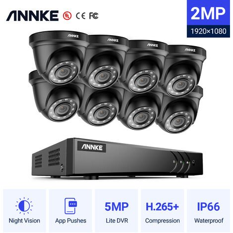 ANNKE 8CH 1080P Lite CCTV System 8pcs 2.0MP Outdoor Security Dome Cameras IR night Video Surveillance CCTV Kit - No hard drive