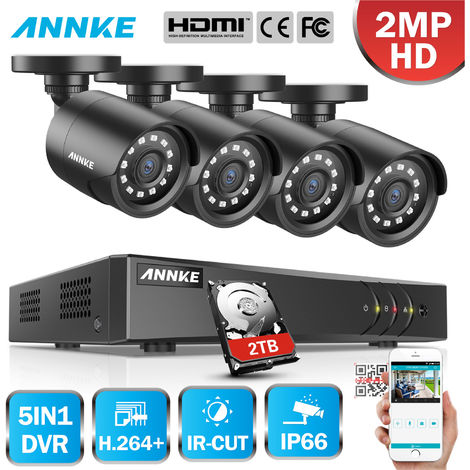 ANNKE 8CH 1080P LiteCCTV System 1080P DVR Kit 4pcs 2.0MP Outdoor Security Cameras System IR night Video Surveillance Kit Black ヨ No hard drive