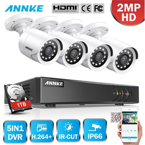 """main image of """"ANNKE 8CH 1080P LiteCCTV System 1080P DVR Kit 4pcs 2.0MP Outdoor Security Cameras System IR night Video Surveillance Kit White Color ヨ No hard drive"""""""