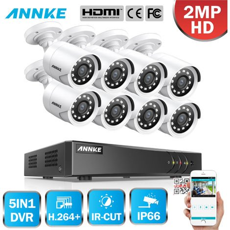 ANNKE 8CH 1080P LiteCCTV System 1080P DVR Kit 8pcs 2.0MP Outdoor Security Cameras System IR night Video Surveillance Kit White Color ヨ No hard drive
