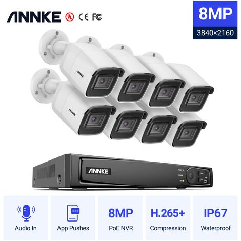 ANNKE 8CH 4K Ultra HD PoE Network Video Security System 8CH 4K H.265+ Surveillance NVR with 8pcs 8MP HD Weatherproof Cameras
