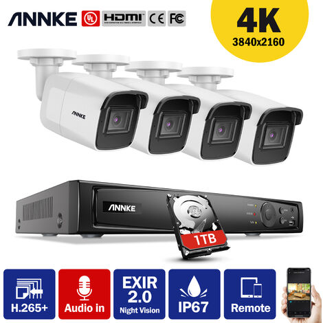 ANNKE 8CH 4K Ultra HD PoE Network Video Security System 8MP Bullet POE Cameras Audio Recording