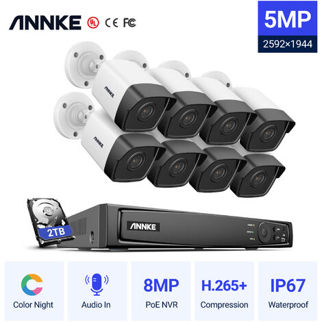 ANNKE 8CH 5.0MP POE NVR 8Pcs 3.0Megapixels HD Home Day/Night Vision IP67 Weatherproof Bullet Security Camera System