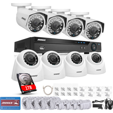 ANNKE 8CH 5.0MP POE NVR 8Pcs 3.0Megapixels HD Home Day/Night Vision IP67 Weatherproof Security Camera System