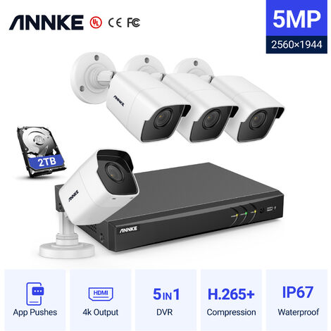 ANNKE 8CH 5MP 5IN1 Ultra HD Video Security Camera System H.265+ With 4PCS 5MP TVI Bullet Weatherproof Outdoor Surveillance Kit – 2TB Hard Drive