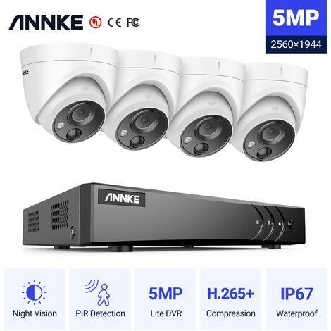 ANNKE 8CH 720P CCTV DVR Recorder with 4x HD Outdoor Bullet Cameras Security System