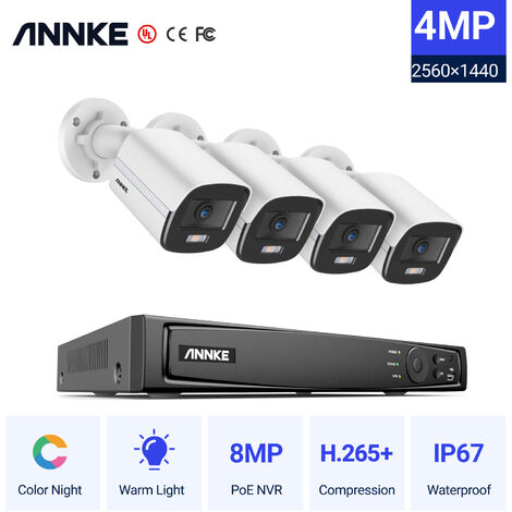 ANNKE 8CH 8MP Ultra HD PoE Network Video Security System H.265 Surveillance NVR 4x4MP HD IP67 Full Color POE  Cameras NVR Kit with 0T Hard Drive