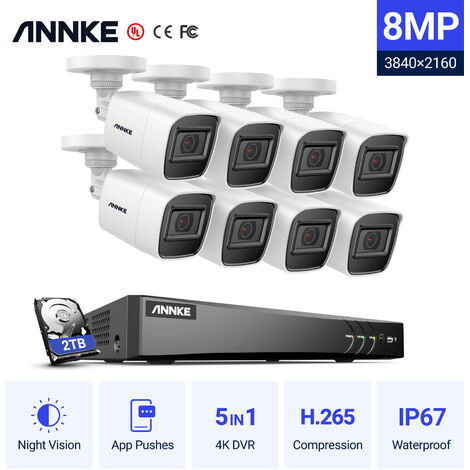 ANNKE 8CH H.265 4K Ultra HD CCTV Camera Systemand 8×8MP HD Weatherproof Cameras – 2TB Hard Drive