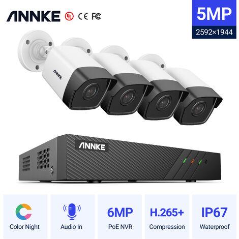 ANNKE 8CH Sistema de seguridad de red Super HD PoE 5MP 4 Cámaras Estilo A
