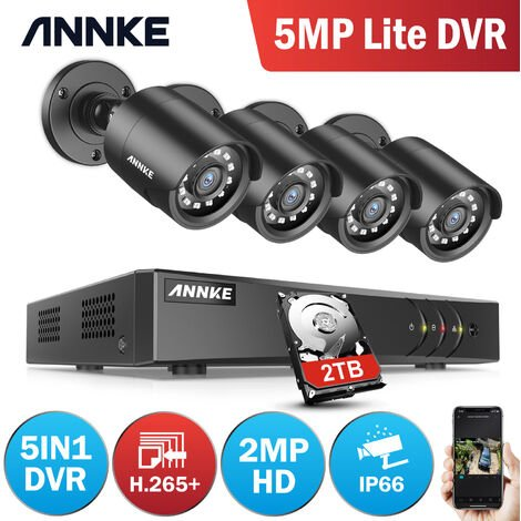 ANNKE 8Channel HD-TVI 1080P Lite Video Security System DVR and 4 Indoor/Outdoor Weatherproof Cameras with IR Night Vision LEDs