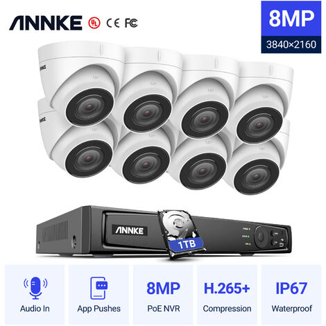 ANNKE 8MP 4K HD PoE ONVIF NVR Security Camera System with H.265+ Coding 4K Wired HD CCTV Kit For Home Outdoor Indoor 8 Cameras