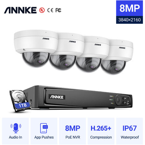 ANNKE 8MP 4K HD PoE ONVIF NVR Security Camera System with H.265+ Coding 4K Wired HD Outdoor Indoor CCTV Kit 8 Cameras