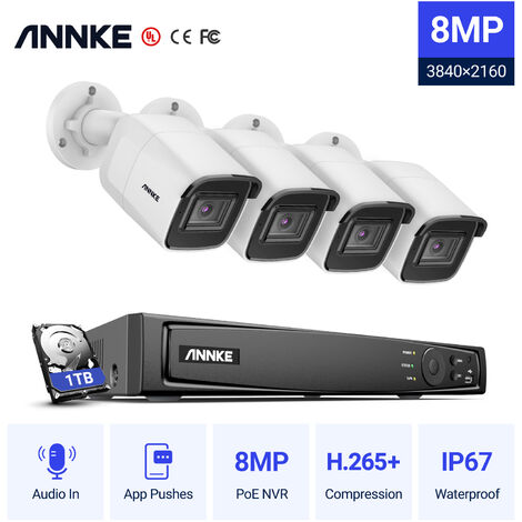 ANNKE 8MP 4K HD PoE ONVIF NVR Security Camera System with H.265+ Coding 4K Wired HD Videosurvelliance CCTV Kits For Home Outdoor Indoor 4 Cameras