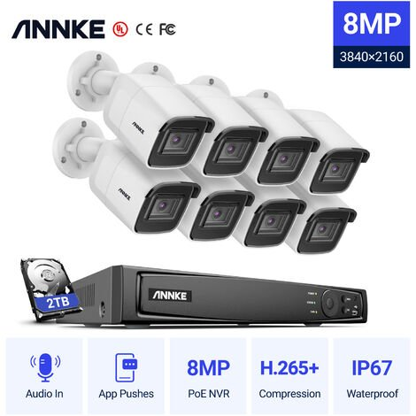 ANNKE 8MP 4K HD PoE ONVIF NVR Security Camera System with H.265+ Coding 4K Wired HD Videosurvelliance CCTV Kits For Home Outdoor Indoor 8 Cameras