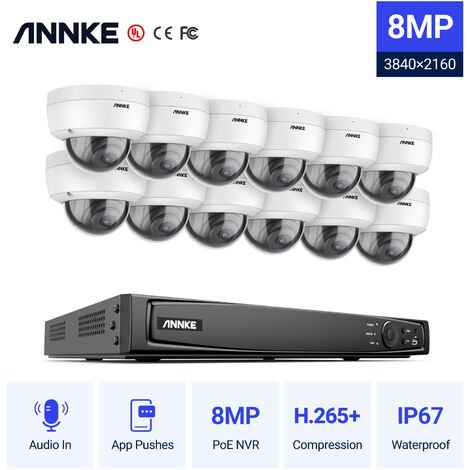 ANNKE 8MP 4K Ultra HD PoE ONVIF 16CH NVR Dome Security Camera System with H.265+ Coding 4K Wired HD Videosurvelliance Outdoor Indoor CCTV Kits 12 Cameras