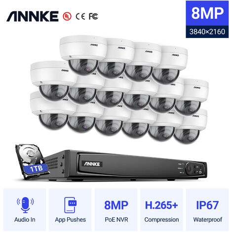 ANNKE 8MP 4K Ultra HD PoE ONVIF 16CH NVR Dome Security Camera System with H.265+ Coding 4K Wired HD Videosurvelliance Outdoor Indoor CCTV Kits 16 Cameras