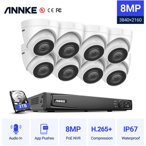 ANNKE 8MP 4K Ultra HD PoE ONVIF 8CH NVR Turret Security Camera System with H.265+ Coding 4K Wired CCTV Kits For Outdoor Indoor Video Survelliance 12 Cameras